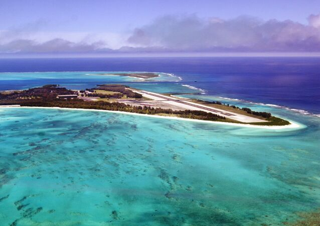An aerial view of the 2.5 square mile Midway Atoll is shown June 5, 2002 file photo.