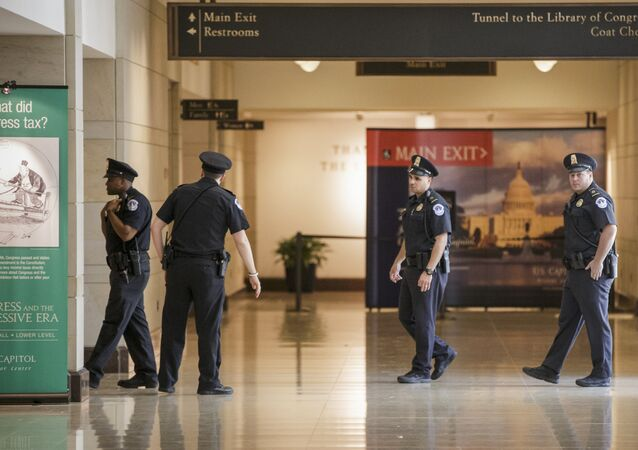 Capitol Police officers secure the Capitol Visitor's Center on Capitol Hill.