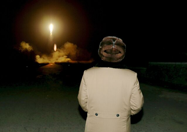North Korean leader Kim Jong Un watches the rocket launch (File)