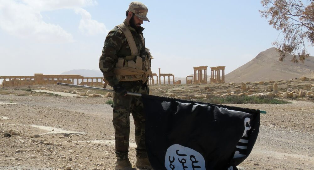 A Syrian Army soldier carries a Daesh flag as he stands on a street in the ancient city of Palmyra on March 27, 2016