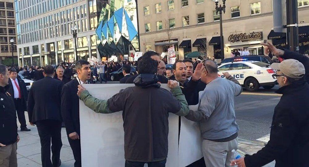 Erdogan guard yell at protester in Washington, DC.