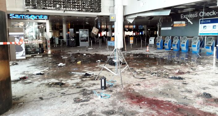 Damage is seen inside the departure terminal following the March 22, 2016 bombing at Zaventem Airport, in these undated photos made available to Reuters by the Belgian newspaper Het Nieuwsblad, in Brussels, Belgium, March 29, 2016.