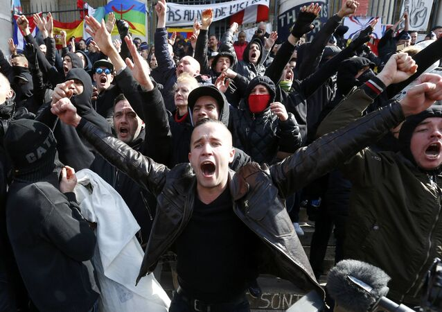 Right-wing demonstrators protest against terrorism in front of the old stock exchange in Brussels, Belgium. March 27. 2016