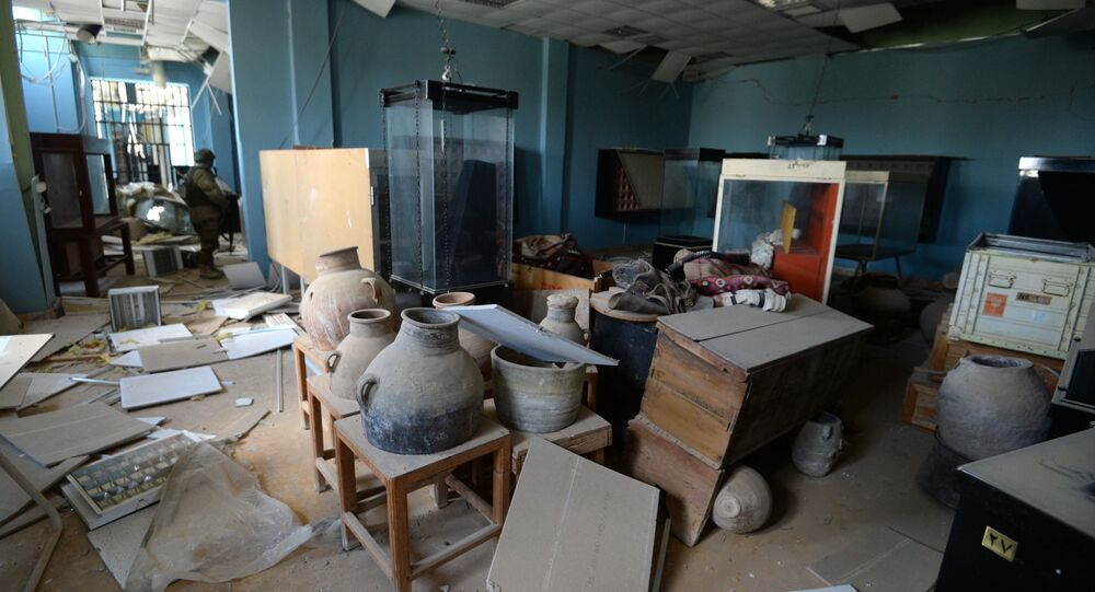 Damage in the National Museum of Palmyra plundered by terrorists
