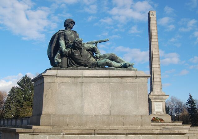 Monument in Soviet soldiers cementry in Warsaw, Poland.