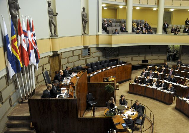 A general view of the Nordic Council's 64th Session in the Finnish Parliament in Helsinki, on October 30, 2012