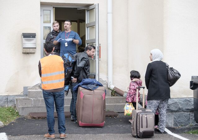 Migrants arrive at a refugee reception centre in Tornio,Finland (photo used for illustration purpose)