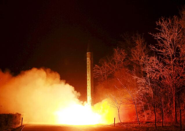 A ballistic rocket launch drill of the Strategic Force of the Korean People's Army (KPA) is seen at an unknown location, in this undated photo released by North Korea's Korean Central News Agency (KCNA) in Pyongyang on March 11, 2016