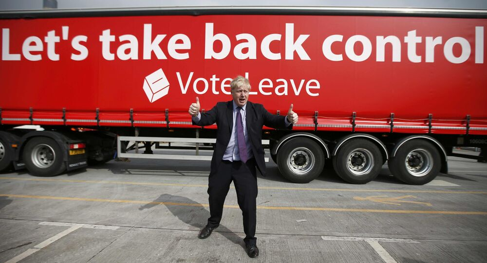 London Mayor Boris Johnson gestures during an Out campaign event, in favour of Britain leaving the European Union, at Europa Worldwide freight company in Dartford, Britain March 11, 2016.