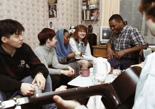 A tea party in the dormitory for foreign students at Moscow State Building University