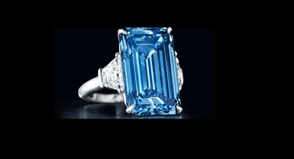 The Oppenheimer Blue diamond, which goes to the auction at Christie's Geneva on May 18.