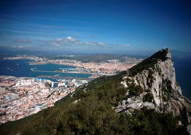 A picture taken on March 17, 2016 shows the Rock of Gibraltar with Spain in background.