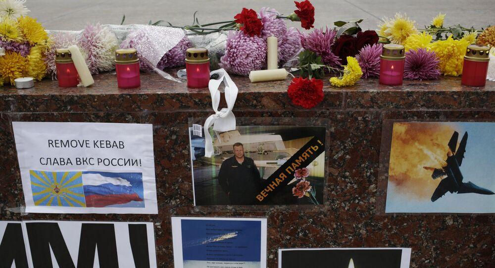 Memorial rally for killed Su-24 pilot Oleg Peshkov in Simferopol. file photo