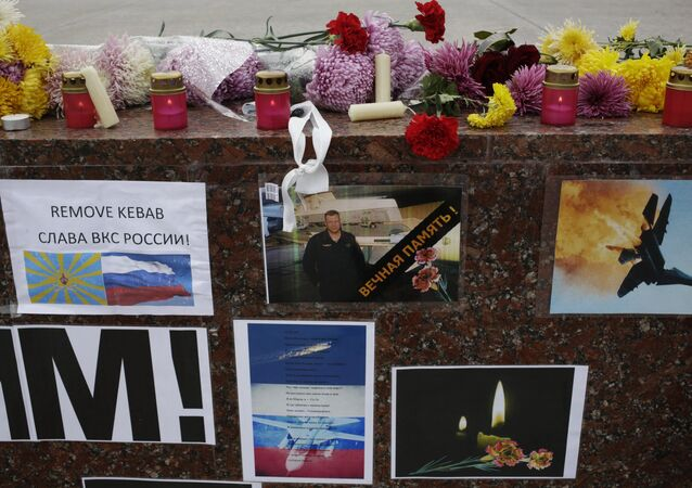Memorial rally for killed Su-24 pilot Oleg Peshkov in Simferopol