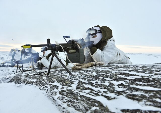 Canadian troops engage in military exercise.