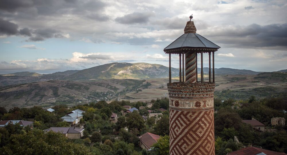 The minaret of a mosque damaged during the war in the town of Shusha in the self-proclaimed Nagorno-Karabakh Republic