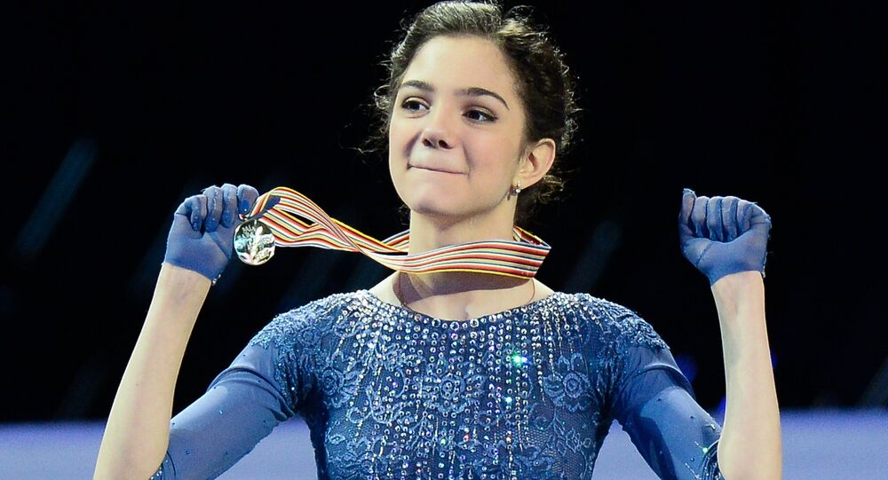Gold medalist Evgenia Medvedeva of Russia