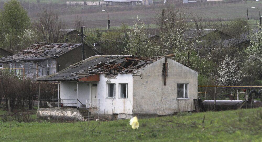 A house which was damaged during clashes between Armenian and Azeri forces, is seen in the town of Martakert in Nagorno-Karabakh region, which is controlled by separatist Armenians, April 3, 2016.