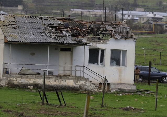 A damaged house in a village of the Martakert district, in the Nagorno-Karabakh conflict zone.