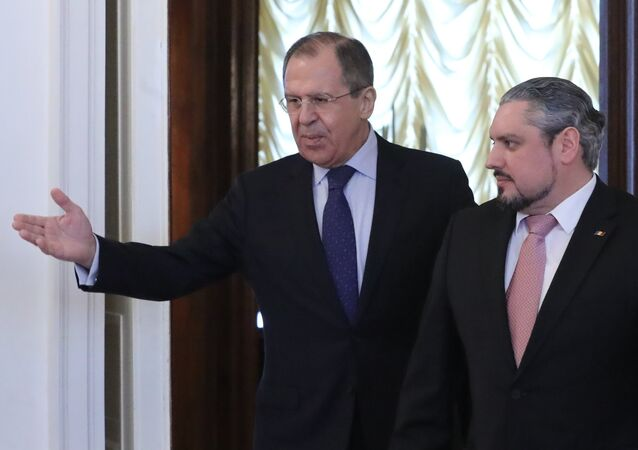 Russian Foreign Minister Sergei Lavrov meets with his Moldovan counterpart Andrei Galbur