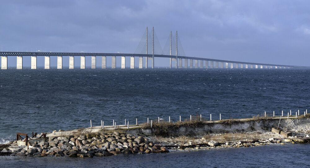 The Oresund bridge pictured from Lernacken on the Swedish side of the Oresund Strait, 12 November 2015.