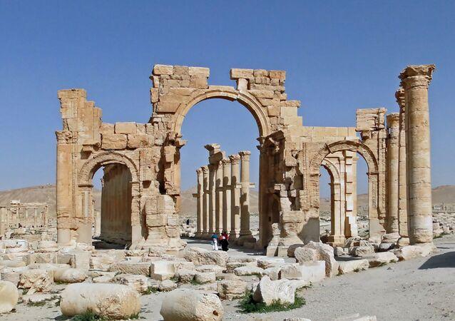 The monumental arch of Palmyra, Syria