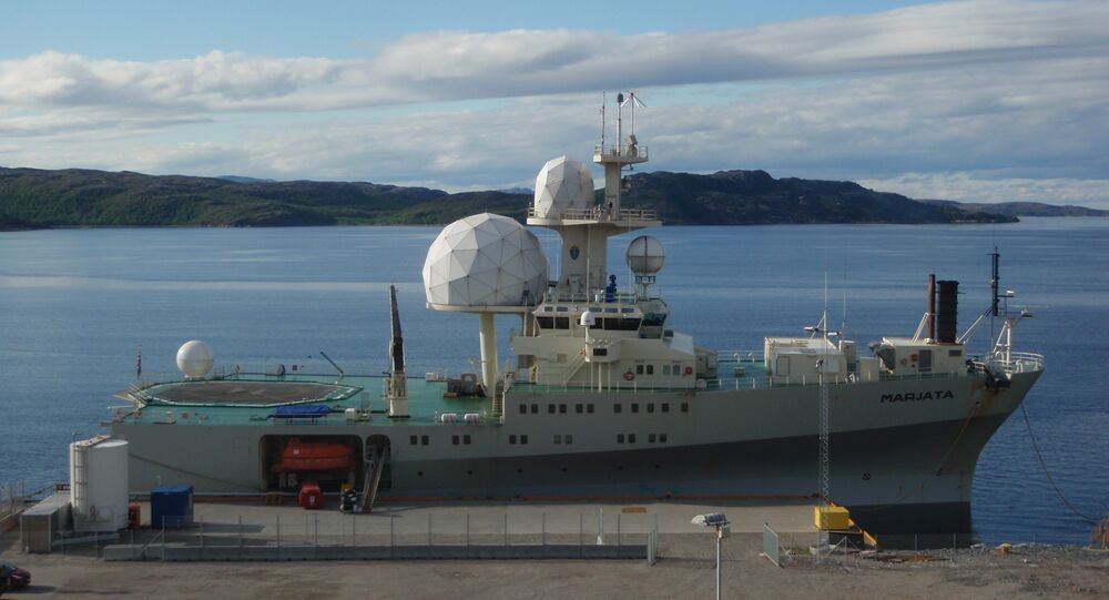 The Norwegian electronic intelligence collection vessel F/S Marjata in Kirkenes, Norway.