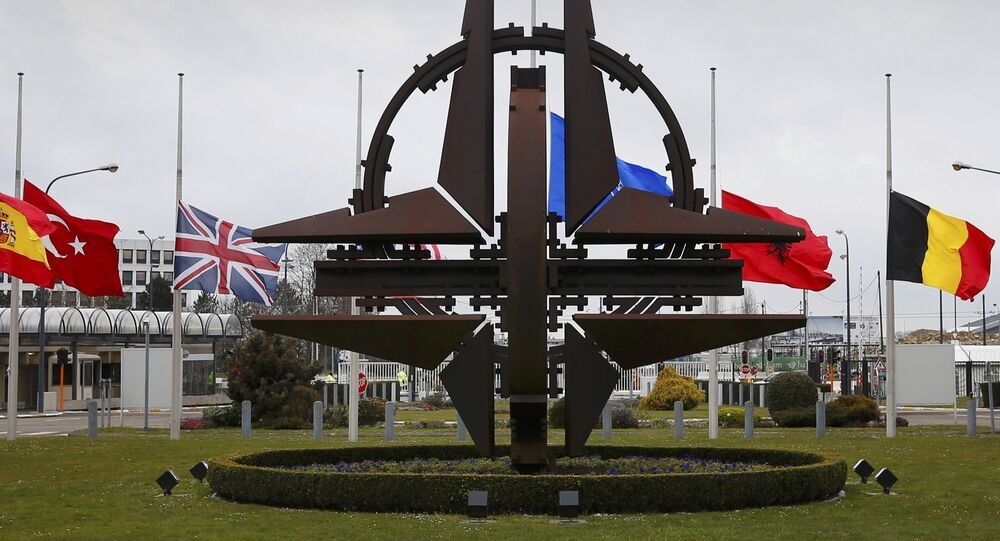 Flags fly at half mast at NATO headquarters in Brussels.