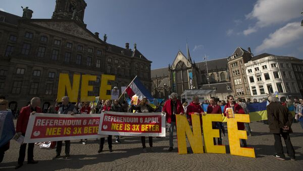 Demonstrators call for people to vote no in the EU referendum during a protest at Dam Square in Amsterdam, the Netherlands April 3, 2016. - Sputnik International