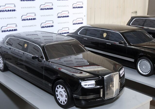 Models of cars designed under the project Cortege displayed at the Central Scientific Research Automobile and Engine Institute.