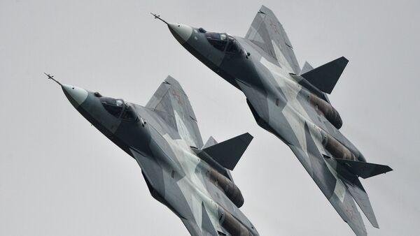 T-50 strike aircraft at the MAKS-2013 Aviation and Space Salon in Zhukovsky - Sputnik International