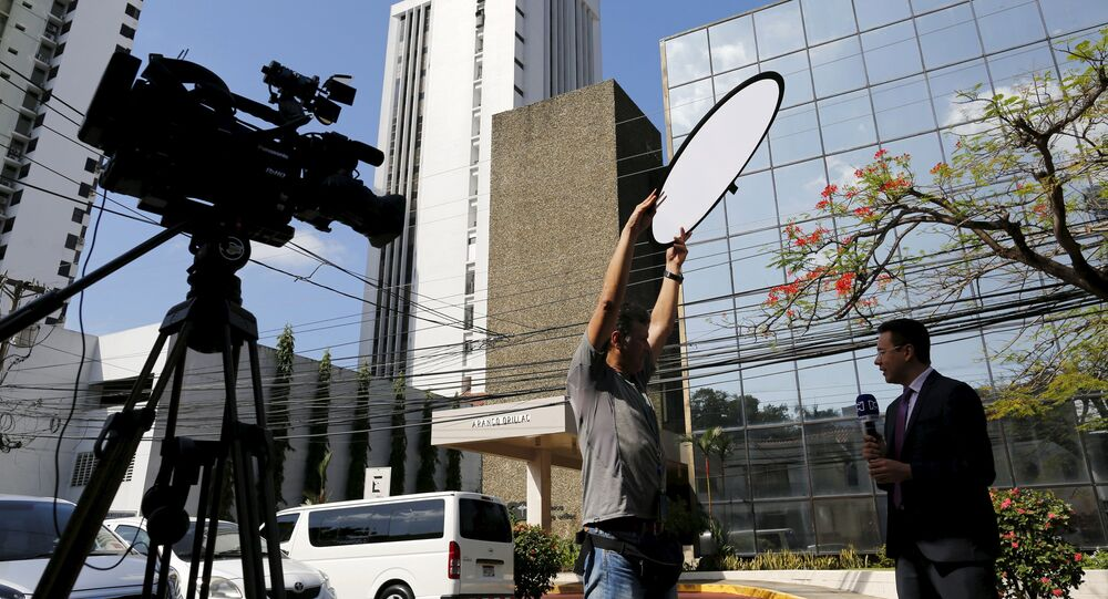 Members of the media stand outside the Arango Orillac Building where Mossack Fonseca law firm is situated at in Panama City, April 5, 2016