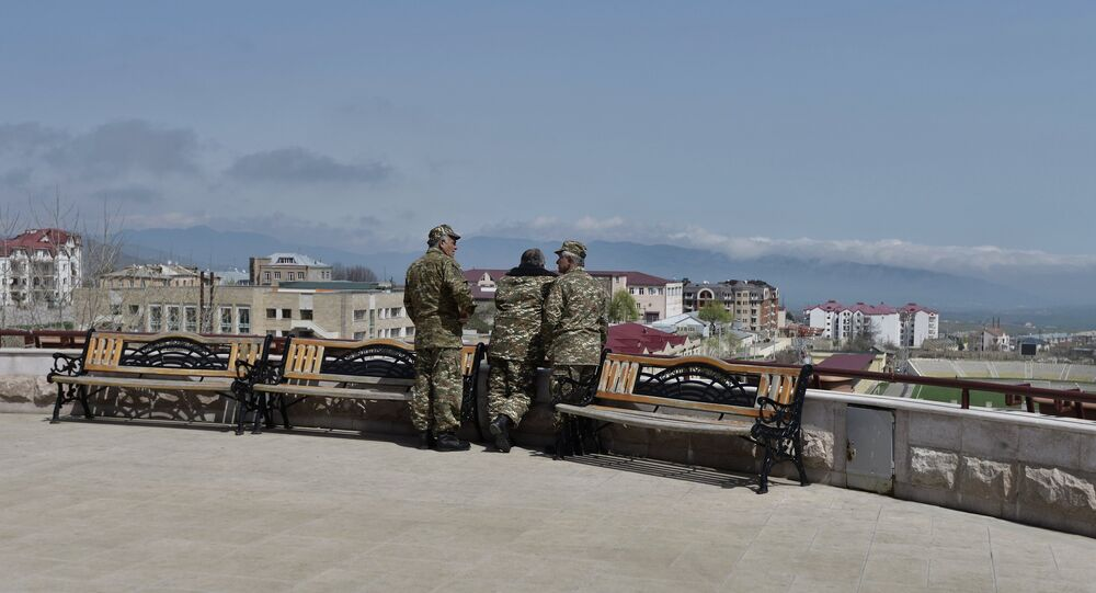 Uniformed men in Stepanakert, the unrecognized Nagorno-Karabakh Republic