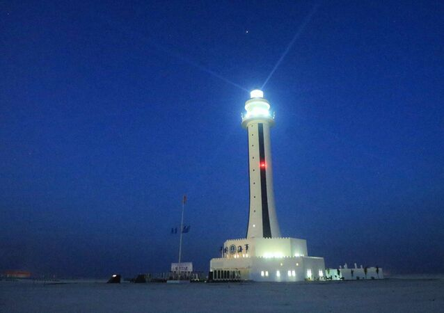This April 5, 2016 photo provided by China's Xinhua News Agency shows the lighthouse on Zhubi Reef in the South China Sea