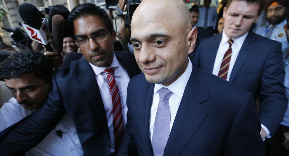 Britain's Business Secretary Sajid Javid leaves Bombay House, Tata Group head office in Mumbai, India, April 6, 2016.