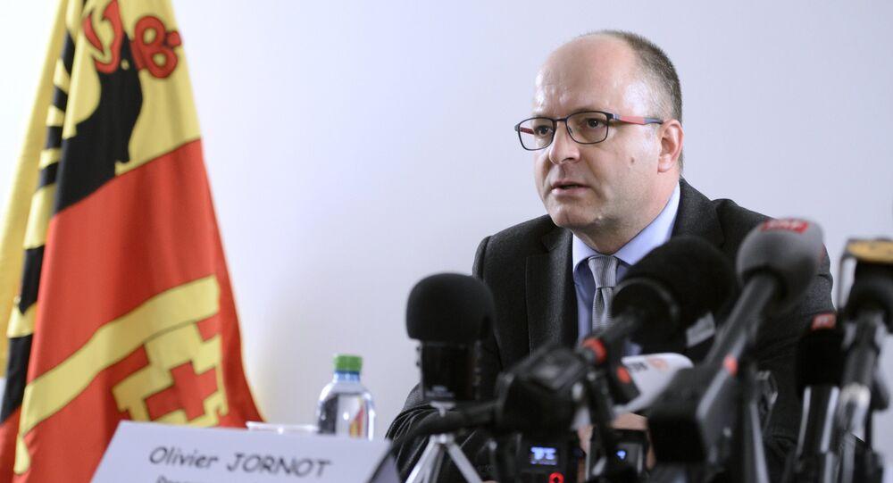 Geneva's attorney general Olivier Jornot speaks during a press conference on December 12, 2015 in Geneva