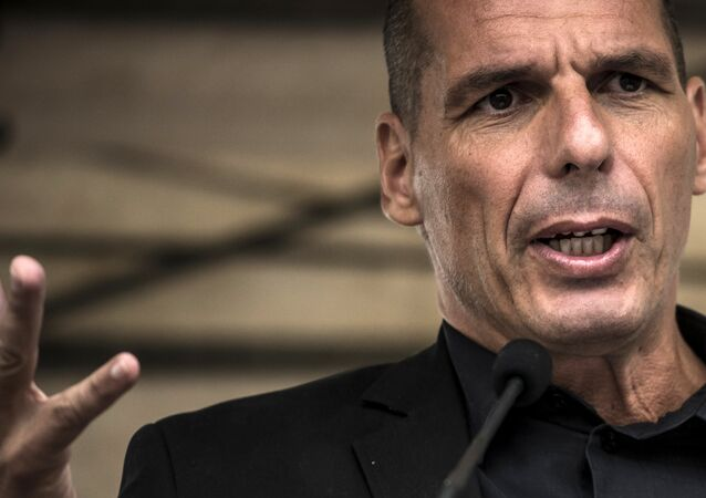 Former Greek Finance Minister Yanis Varoufakis speaks during the 43rd annual Fete de la Rose political meeting on August 23, 2015 in Frangy-en-Bresse.