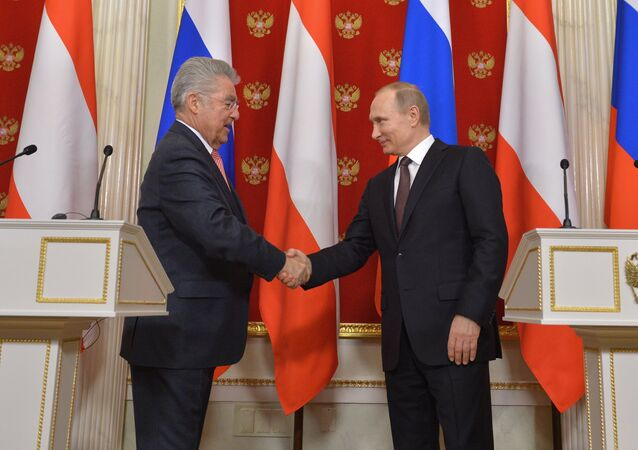 Russian President Vladimir Putin meeting with Austrian President Heinz Fischer, Wednesday April 6, 2016.