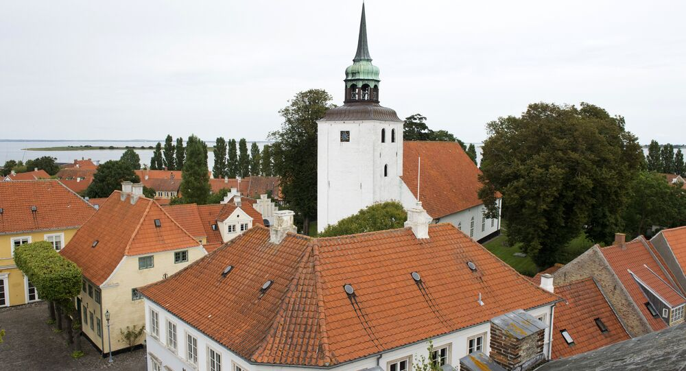 View of the main square and the church in downtown Aeroeskoebing