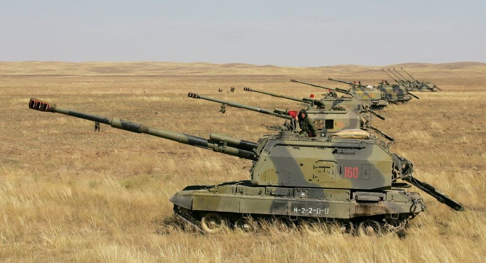 Self-propelled guns line up during the joint drills of the Shanghai Cooperation Organization (SCO) countries in Kazakhstan (File)