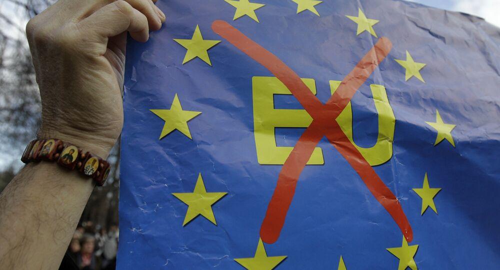 Anti-EU banner. File photo