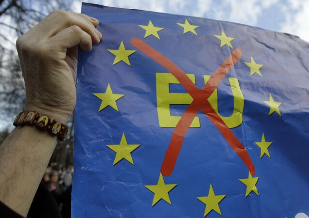 Anti-EU banner. File photo