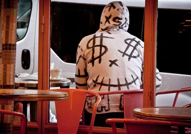 Cool Dollar Sign Hoodie at Café des 2 Moulins - Montmartre, Paris