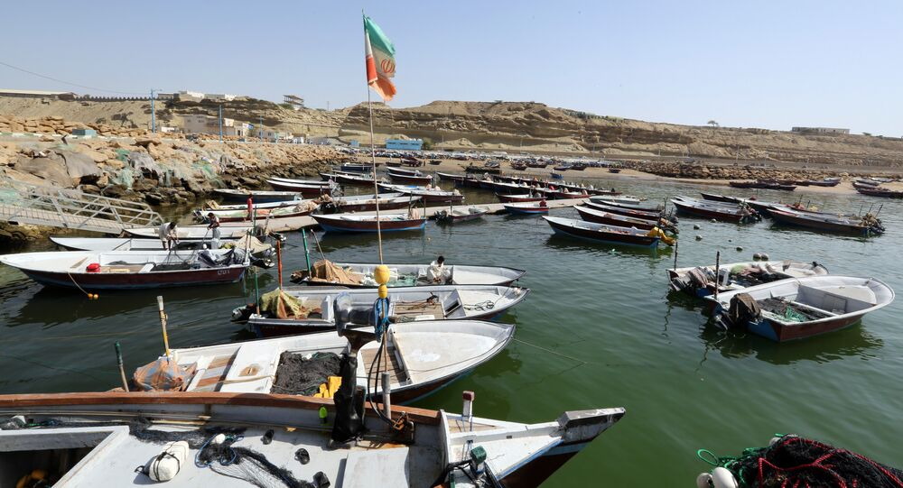 Fishing boats are moored in the southern Iranian port city of Chabahar on May 14, 2015