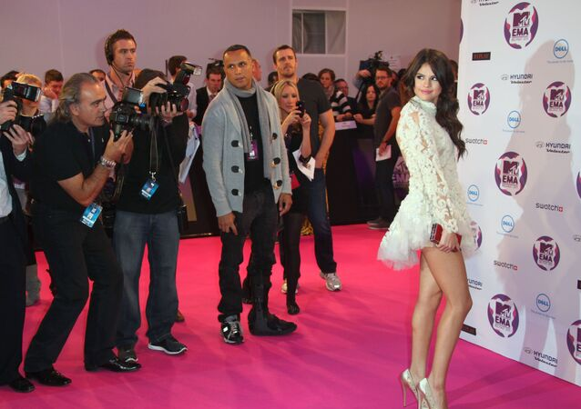 Host Selena Gomez arrives for the MTV European Music Awards 2011, in Belfast, Northern Ireland.