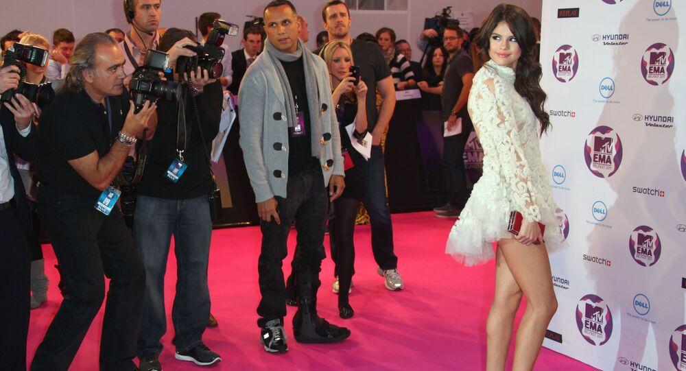 Host Selena Gomez arrives for the MTV European Music Awards 2011, in Belfast, Northern Ireland.