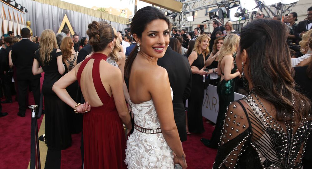 Priyanka Chopra arrives at the Oscars at the Dolby Theatre in Los Angeles.