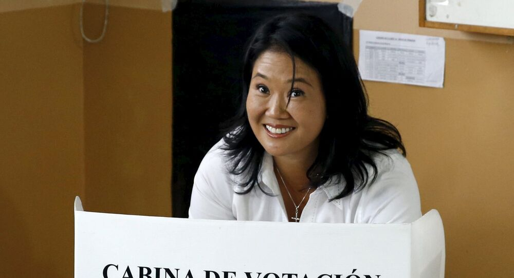 Peru's presidential candidate Keiko Fujimori votes during presidential election, at a polling station at a classroom in Lima, Peru, April 10, 2016.