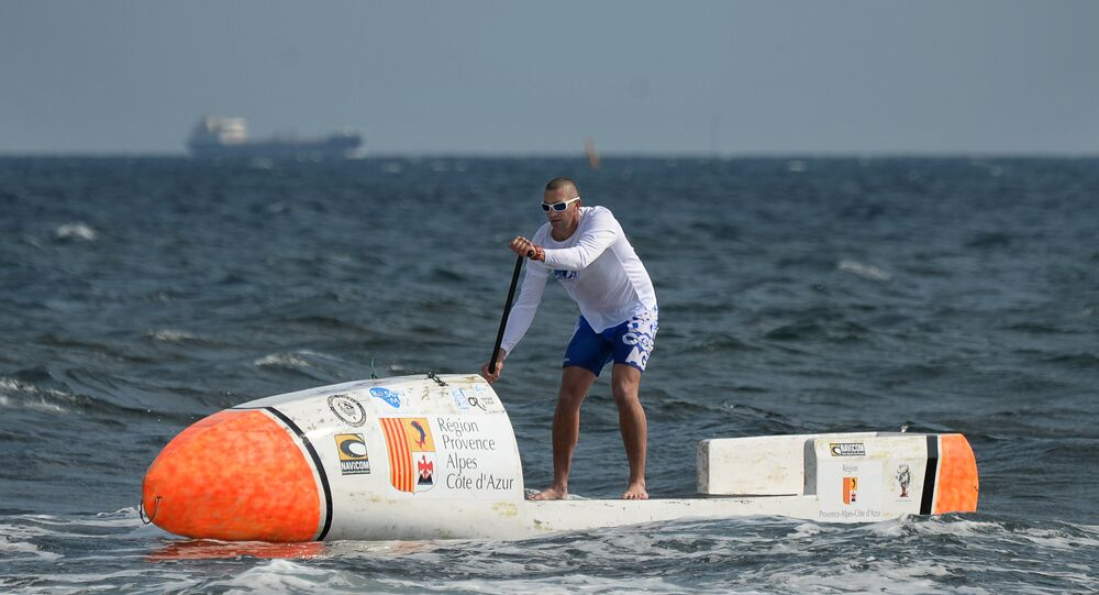 Nicolas Jarossay practicing on his Stand Up Paddel (SUP) off Martigues, as part of a training session ahead of his attempt to cross the Atlantic ocean in his specially designed SUP. (File)