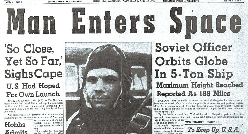 Soviet cosmonaut Yuri Gagarin, the first man to travel into space, hits the headline of the US paper The Huntsville Times on April 12, 1961